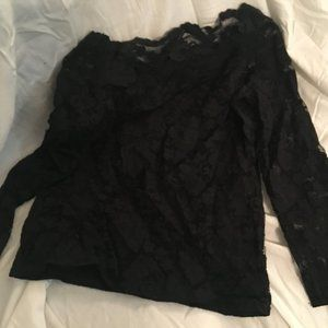 Retro Carlisle off the shoulder black lace top